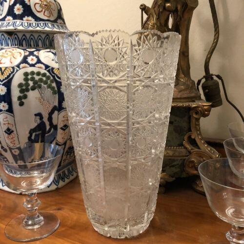 Lovely Large Cut Crystal American Brilliant Vase
