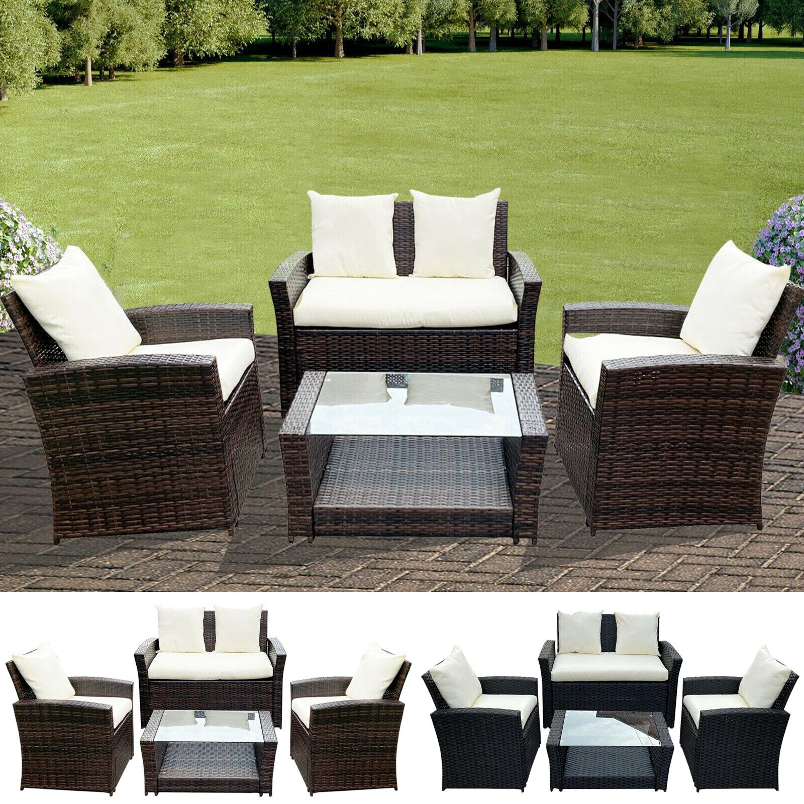 Garden Furniture - Rattan Garden Furniture Conservatory Sofa Set 4 Seat Table Chair Armchairs Patio