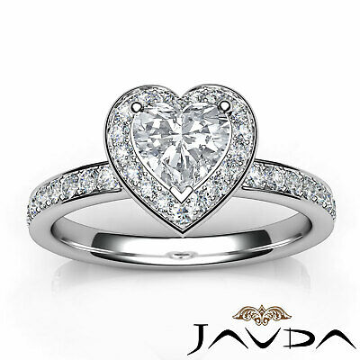 Cathedral Halo Pave Setting Heart Cut Diamond Engagement Ring GIA F VVS2 1.16Ct 10
