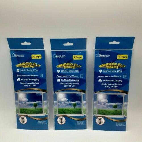 Garsum Window Fly Traps Flying Insects Clear Decal Safe Non-Toxic Lot 12 Total