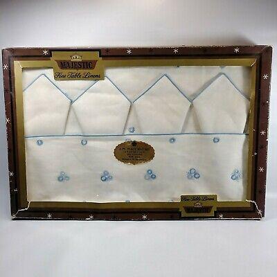 Vtg NOS Majestic Fine Table Linens 4 Placemats 4 Napkins Blue Embroidery Linen