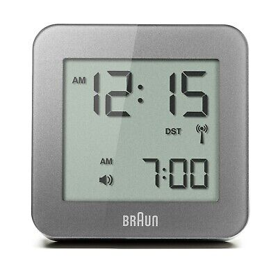 Braun BNC008GY-RC Matte Gray Digital Quartz Radio Controlled Travel Alarm Clock