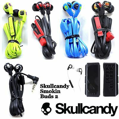 Skullcandy Smokin Buds 2 Supreme Sound Earphones Mic Blue Black Red White New