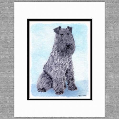Kerry Blue Terrier Dog Original Art Print 8x10 Matted to 11x14