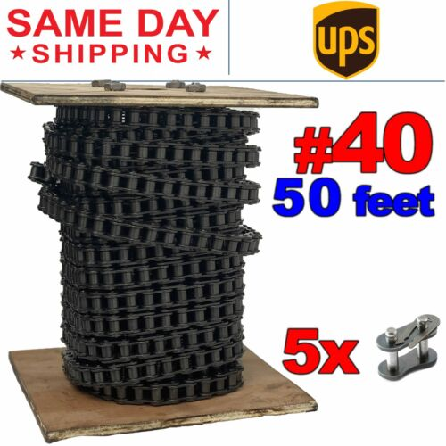 #40 Roller Chain x 50 feet + 5 Connecting Links + Same Day Expedited Shipping
