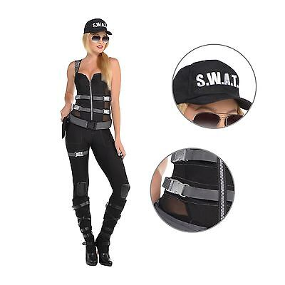 Ladies Sexy Police Uniform SWAT Cop Jumpsuit Hen Night Women Fancy Dress Costume - Ladies Swat Costume
