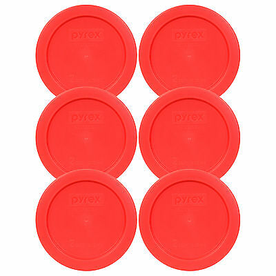 "Pyrex 7200-PC 5"" Storage Lid Cover 2 Cup Red Round 6 Pack for Glass Bowl New"