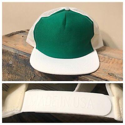 Vintage Deadstock Blank Hat SnapBack Trucker Green White Made in USA John Deere