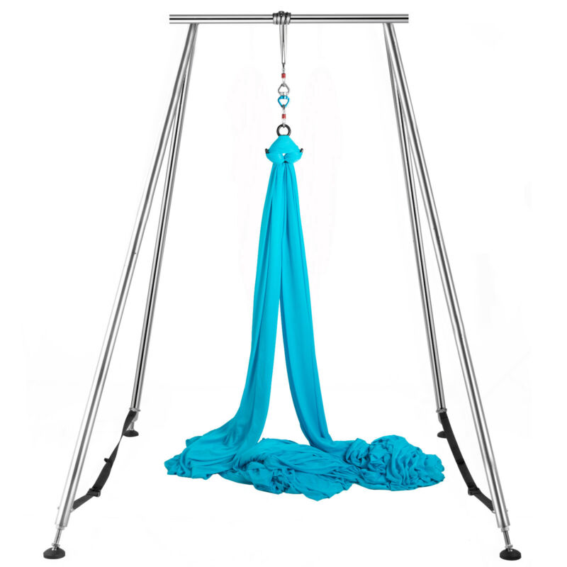 Aerial Trapeze Stand Portable Aerial Rig Frame Yoga Swing Bar w/39Ft Aerial Silk