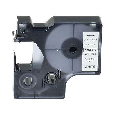 Black on WHITE VINYL LABEL Tape 18443 for DYMO RHINO 1000 3000 4200 5200 9mm -