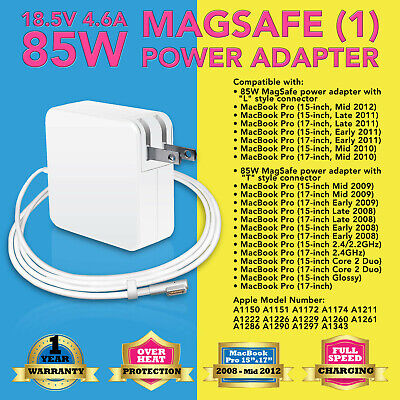 ADAPTER for APPLE MAGSAFE 85W CHARGER MACBOOK AIR PRO A1278 A1286 A1290