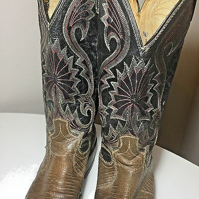 Dan Post Western Mens Cowboy Boots 9 5 Designer Tri Color Leather Lizard Skin