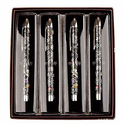 Korean Premium Mother-of-pearl Pattern Crane 4 Ballpoint Pen Set for Gifts