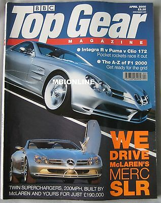 Top Gear 04/2000 featuring Mercedes SLR,AC Cobra, Ford Racing Puma,Honda,Renault Puma Racing Gear