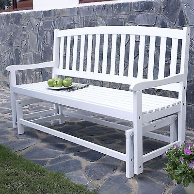 (White Slat Back Double Seat Patio Glider Bench Outdoor Seating Furniture Garden)