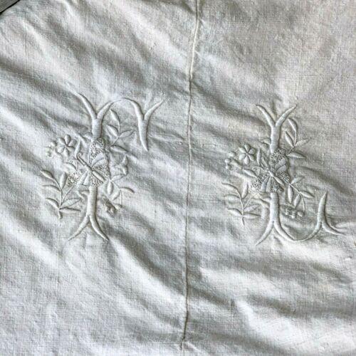 FL monogram Antique HEAVY hemp linen French sheet / bed cover  BUTTERFLY detail