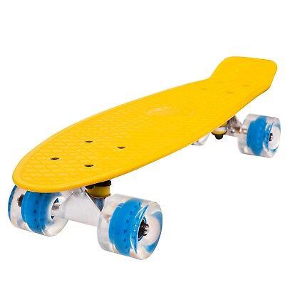 Skateboard Komplettboard Skate Board mit LED Leuchtrollen Retro Mini Crystal NEU