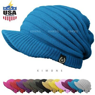 S- Visor Beanie Cable Knit Slouchy Baggy Crochet Ski Winter Hat Cap Man -