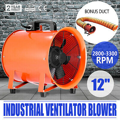 12 Extractor Fan Blower Portable 5m Duct Hose Exhaust Heavy Duty Air Mover