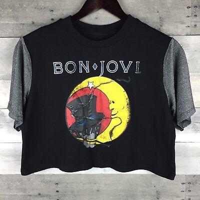 Bon Jovi Crop Top Black Metallic Color Block Sleeve Size M Skull Top Hat Moon - Colored Top Hats