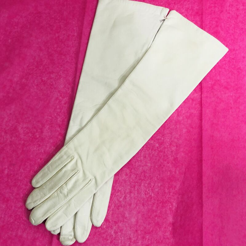Vintage White Kid Leather Long Opera Evening Gloves Silk Lined West Germany Sz 7