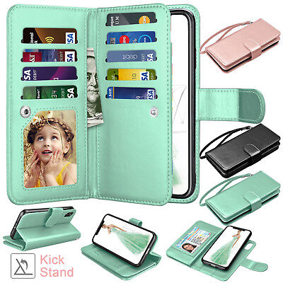 Max Leather - For iPhone XS MAX XR Leather Wallet Case Magnetic Flip Cover Thin Slim Cases