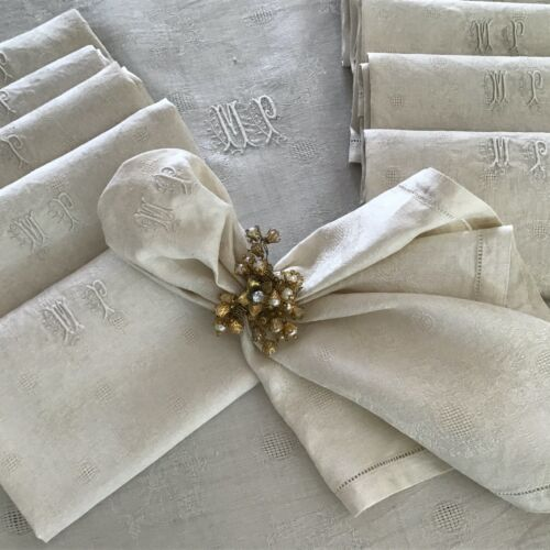 Lovely Antique Vintage French Damask Linen TableCloth + 12 Napkins Unused  MP