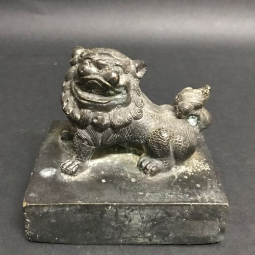 CHINESE ART BRONZE STAMP/SEAL WITH FOO DOG