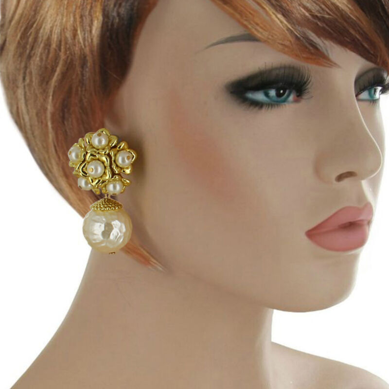 "Mega Large White Faux Pearl Dangle Clip On Earrings Vintage 1980s 2 1/2"""