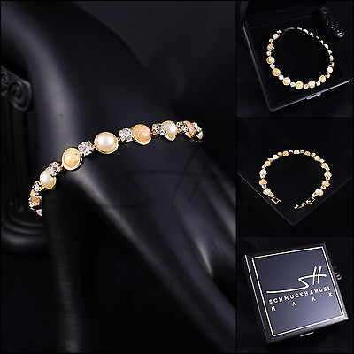 Armband, Armschmuck *Steinchen* Bracelet, Gelbgold pl, Swarovski Elements, +Etui