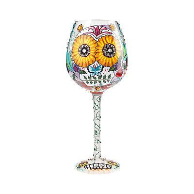 Lolita Sugar Skulls Halloween Day of the Dead Hand Painted Wine Glass  - Halloween Wine Glasses Painted