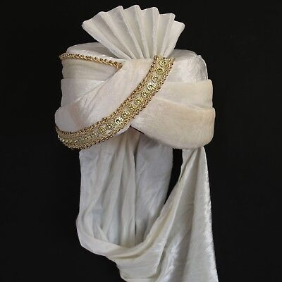 Turban Creme- Weiß Sultan Indien Bollywood Kostüm Fasching Karneval Maharaja   - Turban Kostüm