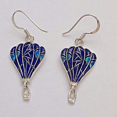 Multi Stone Dangle - Sterling Silver Multi-Stone Inlay with Opal Hot Air Balloon Hook Dangle Earrings