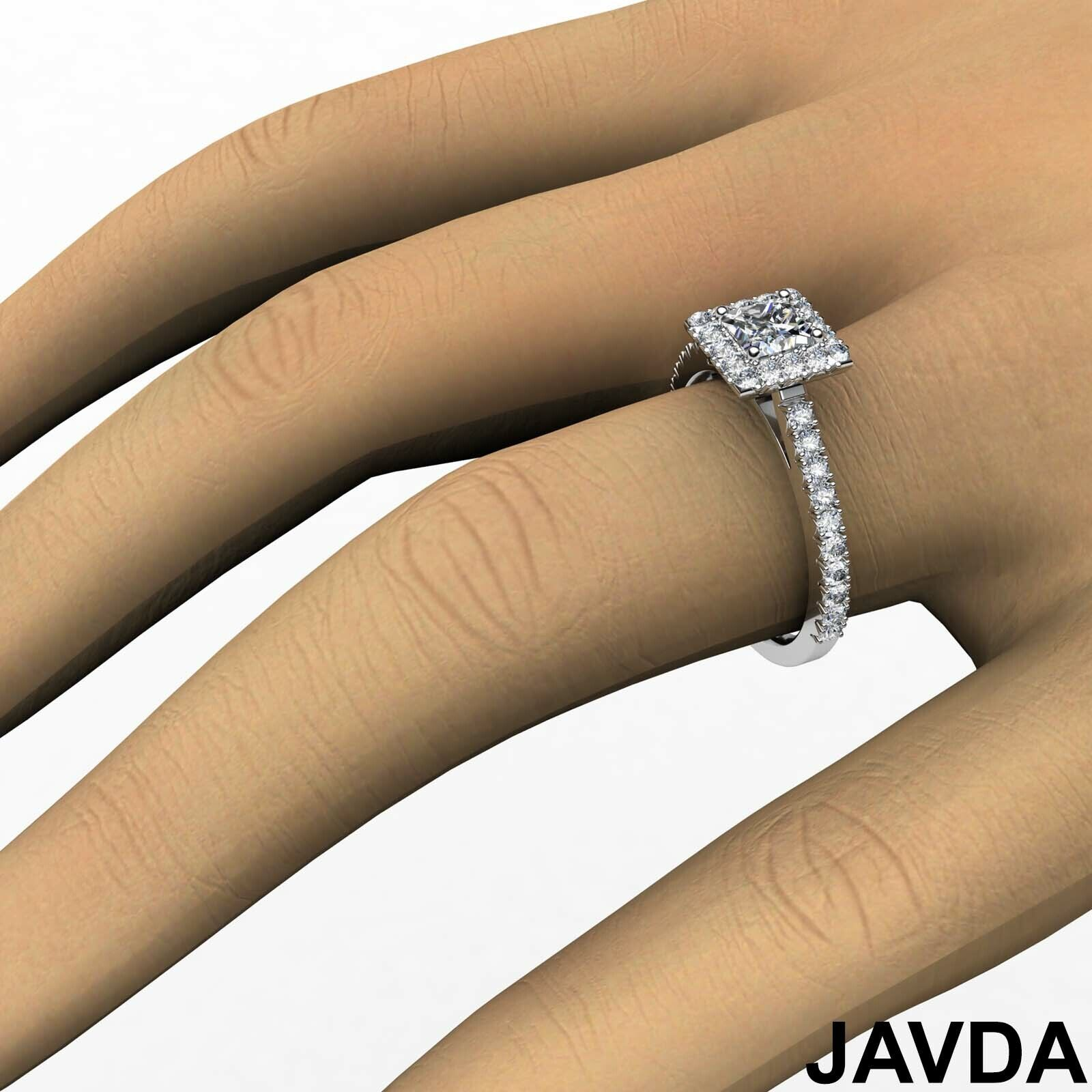 2.04ctw Halo French Pave Princess Diamond Engagement Ring GIA F-VS1 White Gold 3