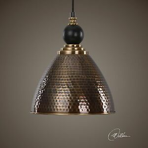 Aged hammered brass metal finish hanging pendant ceiling for Brass kitchen light fixtures
