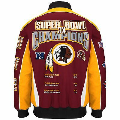 Washington Redskins Premier 3 Time Super Bowl Champions Cotton Twill Jacket