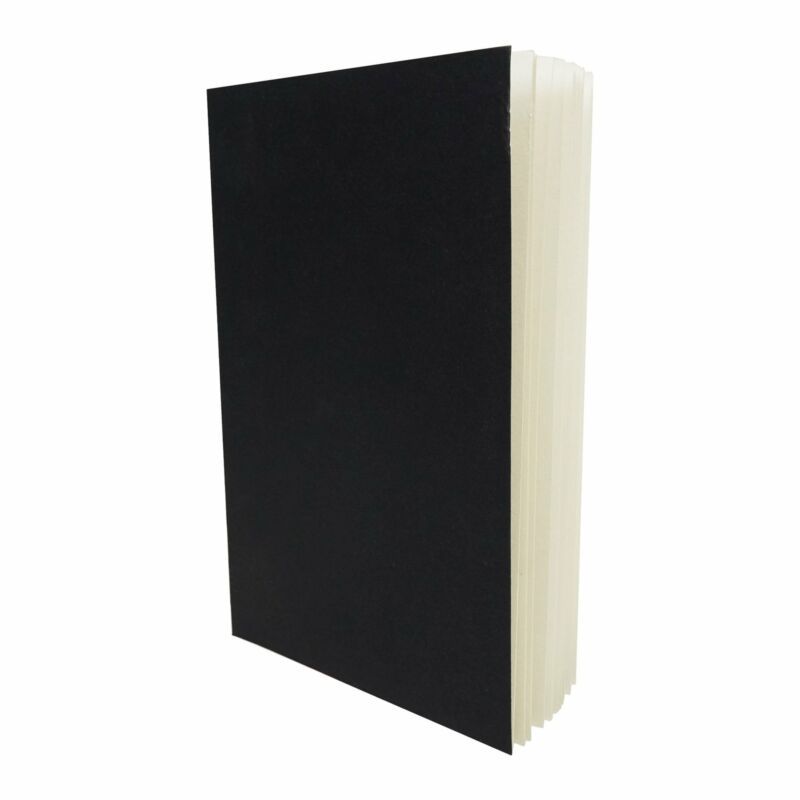 Black Layflat Sketchbook - 5.5 x 8.25 Inches - Blank Note Book, 64 Sheets, Thick