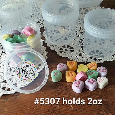 12 Clear Hobby JARS 2 ounce Container Plastic Screw Cap Makeup Parts 5307 USA  2 Ounce Clear Jar