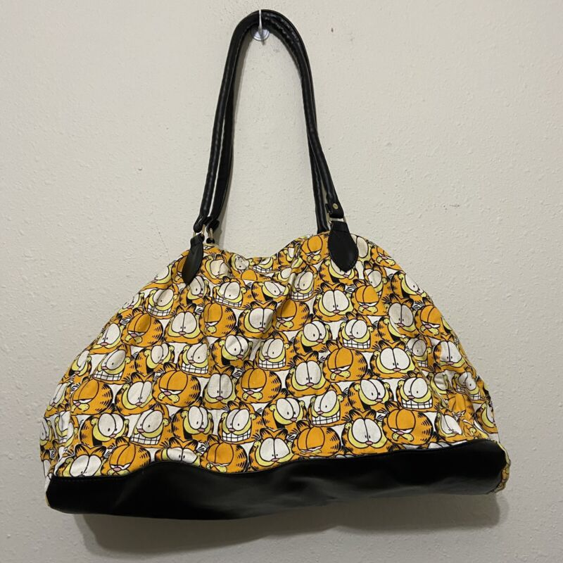 Vintage 90s Garfield all over print bag purse tote zipper weekender