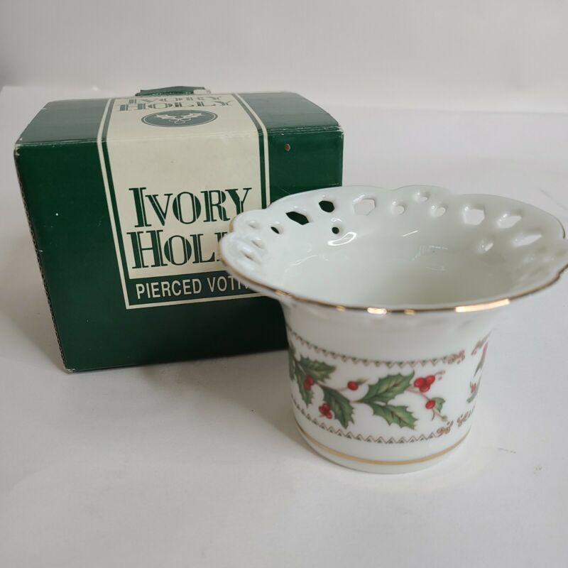 VTG The Cellar Ivory Holly Berries Pierced White Votive Candle Holder Japan Made