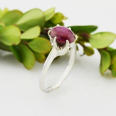 14k White Gold Estate Cabochon Ruby Ring Size 5.5