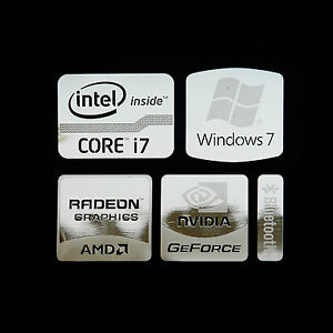 Intel Core i7 Logo Metal Decal Sticker NVIDIA Radeon Graphics (Silver Type A)