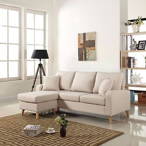 modern fabric small space sectional sofa w reversible chaise in beige