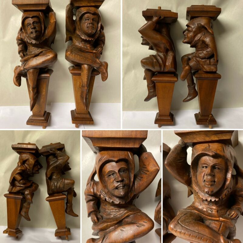 PAIR OF ANTIQUE CARVED WOOD CORBEL PEDESTAL JESTER HARLEQUIN FURNITURE SALVAGE