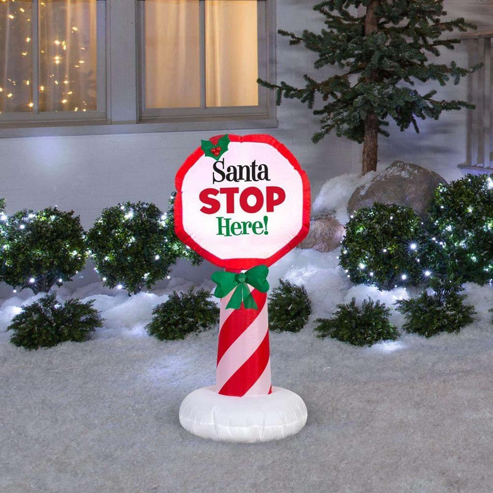Accents Holiday Outdoor Lighted Christmas Inflatable Santa Stop Open Box