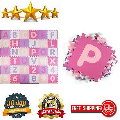 Alphabet Playmat Foam 36 Piece ABC Set Pink/Purple 74x 74 36 Sq Ft Kids Playroom