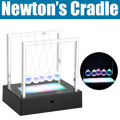Physics Science Newtons Cradle Fun Glass Balance Balls Pendulum Office Desk Toy