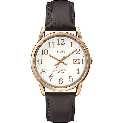 Timex T2P563, Men's Easy Reader Brown Leather Watch, Indiglo, Date,T2P5639J