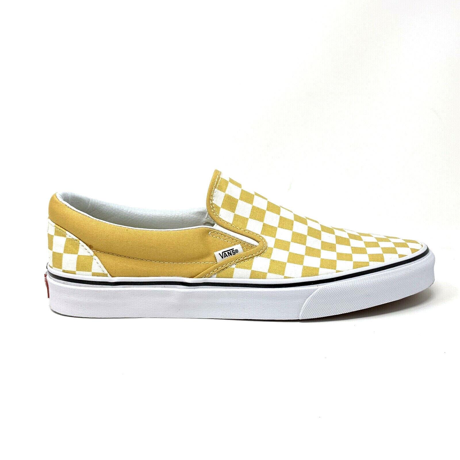 Vans Classic Slip On Yellow White Checkerboard Men's 11.5 Sk