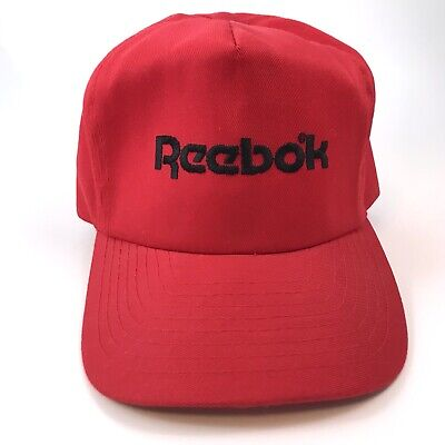 Vintage 80s 90s Reebok Snapback Hat Otto Cap Red Embroidered Spell Out Athlete